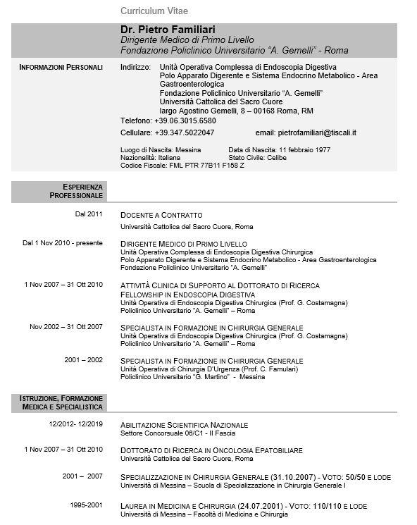 Curriculum Vitae Medico Chirurgo Formato Curriculum Vitae Europeo Da